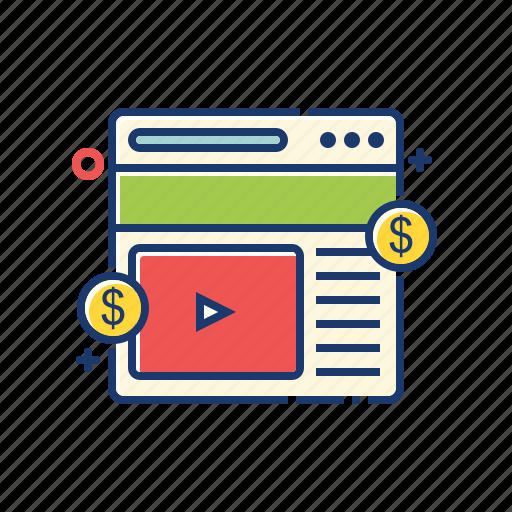 advertising, internet, marketing, online, video icon