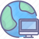 computer, earth, internet, network icon