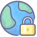 connection, earth, lock, network, security icon