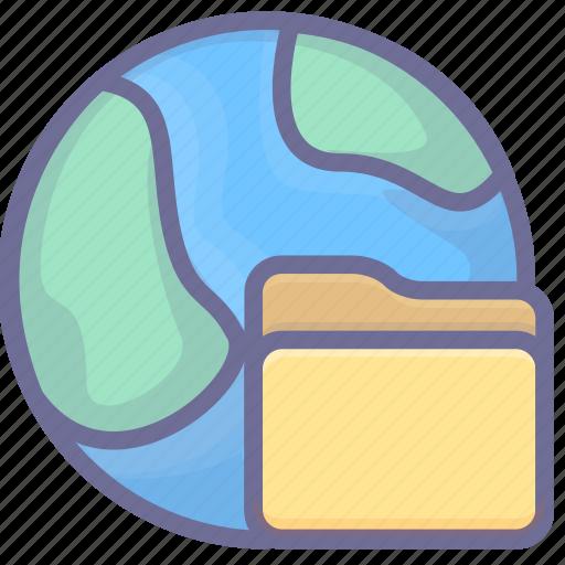 earth, folder, internet, network icon
