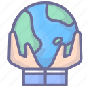 earth, hands, internet icon