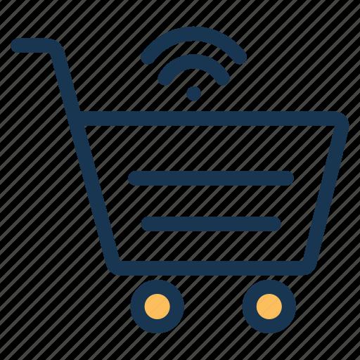 cart, cartwireless, enabled, iotinternet, networkshopping, of, shoppingwifi, thingsonline icon