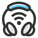 communication, headphone, iot, wifi signal, wireless icon