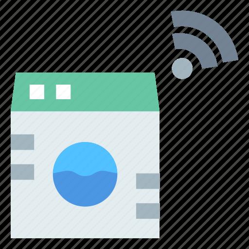 internet, internet of things, iot, smart, washing machine icon