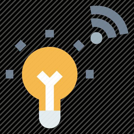 bulb, internet of things, iot, smart bulb, wifi icon