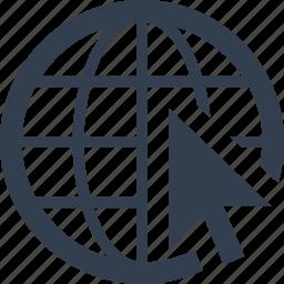 arrow, browse, connection, explore, find, globe, internet, web icon