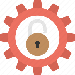 cyber risk management, lock configuration, padlock with gear, security lock, security setting icon