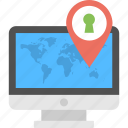 address tracker, location pin, online map, online system, secure location finder icon