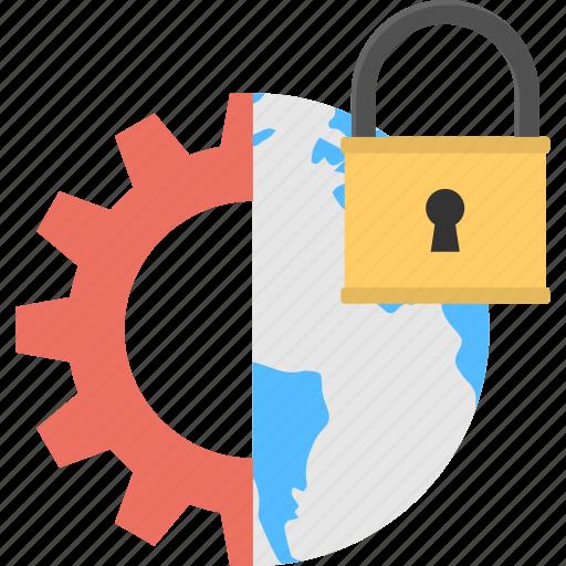 global management, half cogwheel, padlock, technology maintenance, world map icon