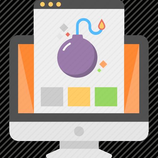 bug inspection, internet safety, malware threat, online data, virus attack icon