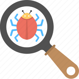 bug inspection, computer virus, corrupted file, internet security, malware search icon