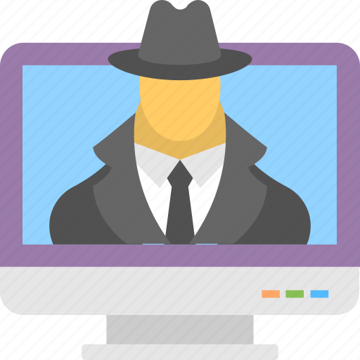 computer detection, internet security, online monitoring, software spyware, web hacker icon