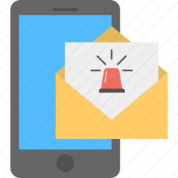 email notification, message alert, mobile notification, new email, secure communication icon