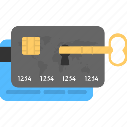 card lock, credit card, online payment, secure banking, security key icon