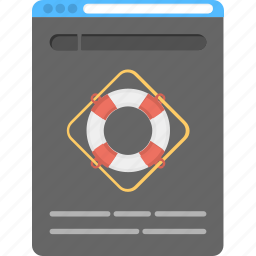 internet lifeguard concept, internet security, online lifebuoy app, online protection, security icon