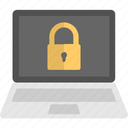 internet security lock, laptop monitor, privacy lock, system protection, system security icon