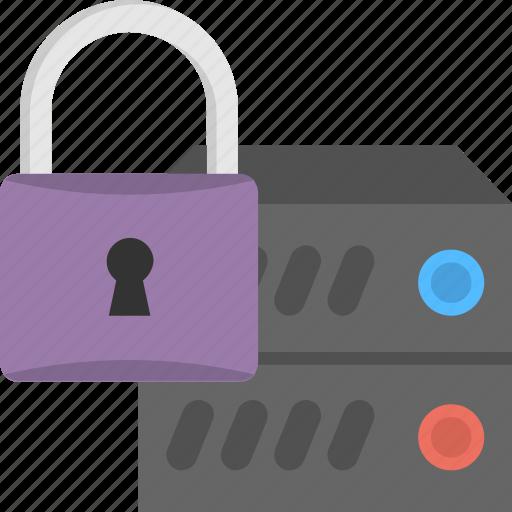 internet security, online protection, server lock, server with padlock, vpn server security icon