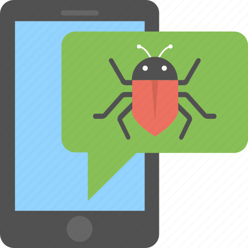 bug attack, corrupting system, mobile bug, smartphone virus, virus alert message icon