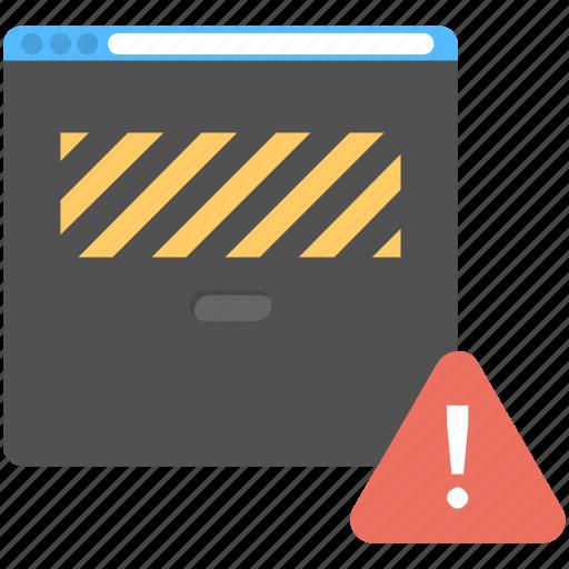 error page, under construction banner, website alert, website under construction, work in progress icon