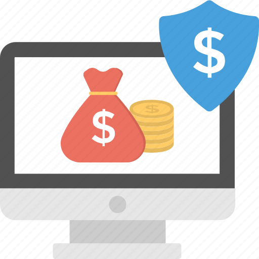 cryptocurrency, digital wallet, e commerce, online banking concept, online money protection icon