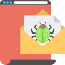 email alert, infected email, internet virus, online bug, spam mail concept icon