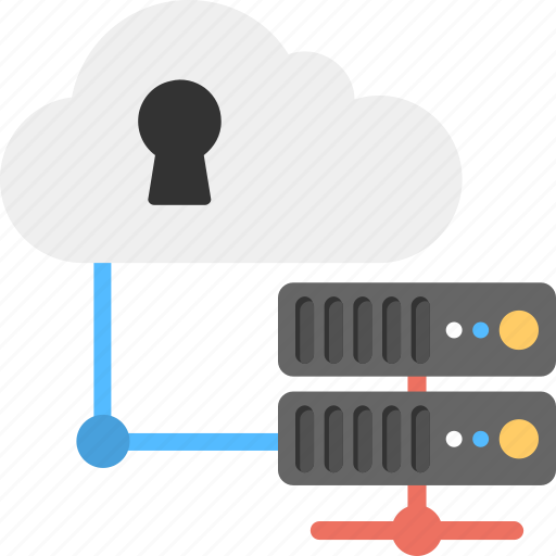 cloud platform, cloud server, cloud storage, protected server, secured cloud data icon
