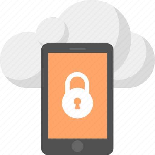 backup data protected, cloud data locked, mobile information security, secured mobile data, smartphone lock icon
