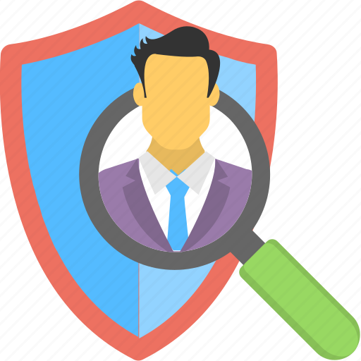 detective search, hacker protection, security shield, spy detection, spyware removal, threat detection icon