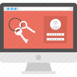computer screen, locked screen, passkeys concept, password protected, security application icon