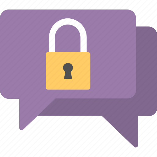communication locked, confidential conversation, encrypted messages, messages protection, security lock chat icon