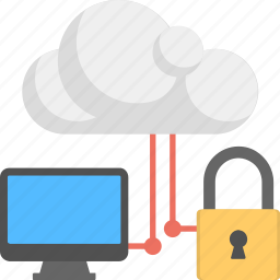 cloud computing, computer security, data security, online network, protected system icon