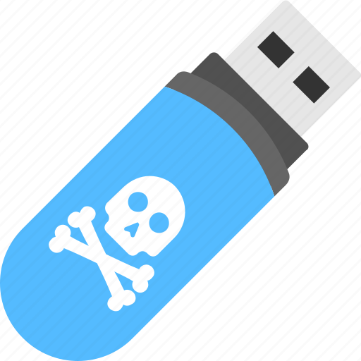 corrupted stick, malware infected, skull crossbone usb, virus infected usb, virus warning icon