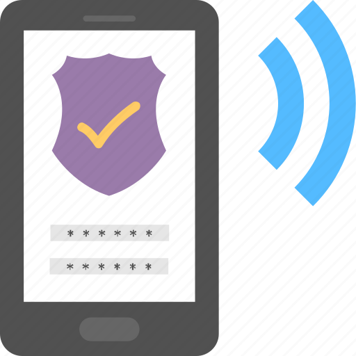internet protection, secured signal strength, security password, security shield, smartphone protection icon