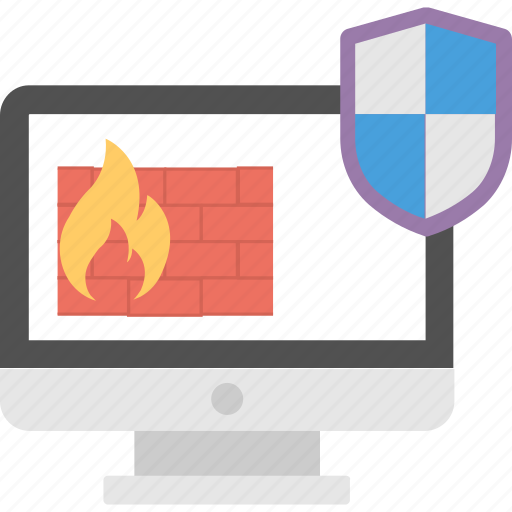 computer monitor, firewall protection, internet security, shield protection, windows security concept icon
