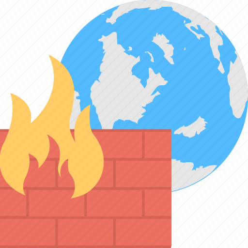firewall protection, globe with firewall, internet protection, network security, windows firewall icon