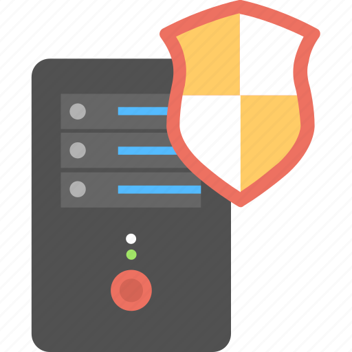 computer server, computer tower with shield, cyber security concept, hardware protection, security shield icon