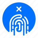fingerprint, no, security icon