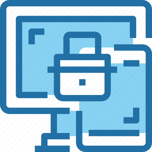computer, laptop, padlock, secure, security icon