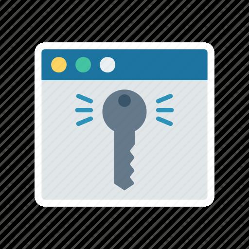 access, key, lock, password, web icon