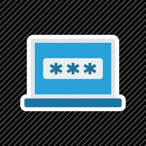 laptop, login, password, secure icon