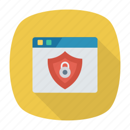 browser, lock, security, shield icon