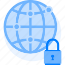 global protection, globe with lock, network protection, network security icon icon