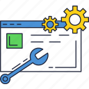 constraction, gears, maintenance, repair, under, website, wrench icon