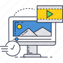 computer, internet, movie, play, screen, video icon