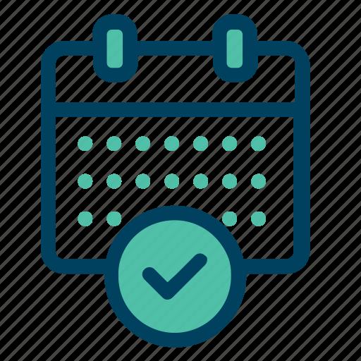 approve, callendar, check, data, schedule icon