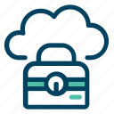 bag, case, cloud, data, storage, suit icon