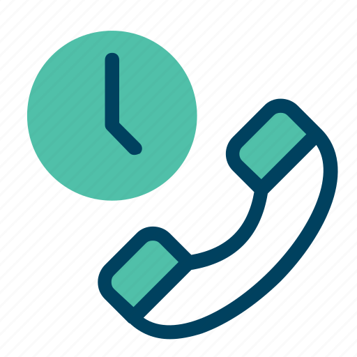 call, clock, telephone, time, waiting icon