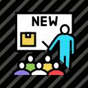 new, product, presentation, speech, case, employee icon