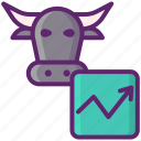 bull, bull market, investing, investment, market, stock market icon
