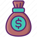 capital, cash, earnings, money, money bag icon